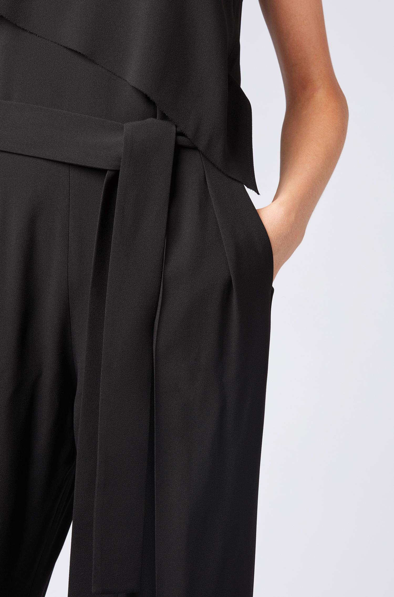 Tuxedo-style jumpsuit in satin-back crepe , Black