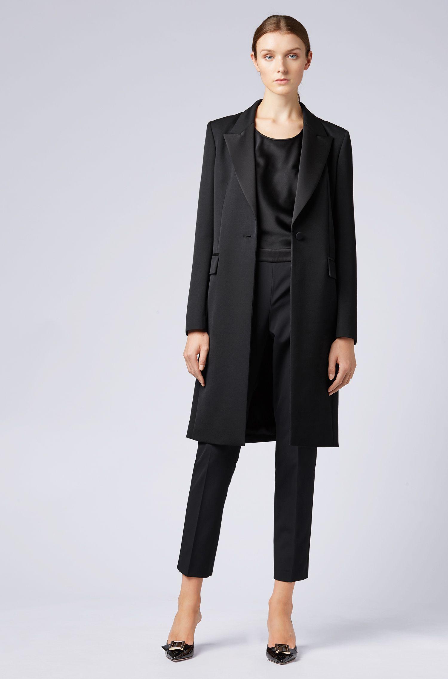 Tuxedo-style coat in Italian virgin wool, Black