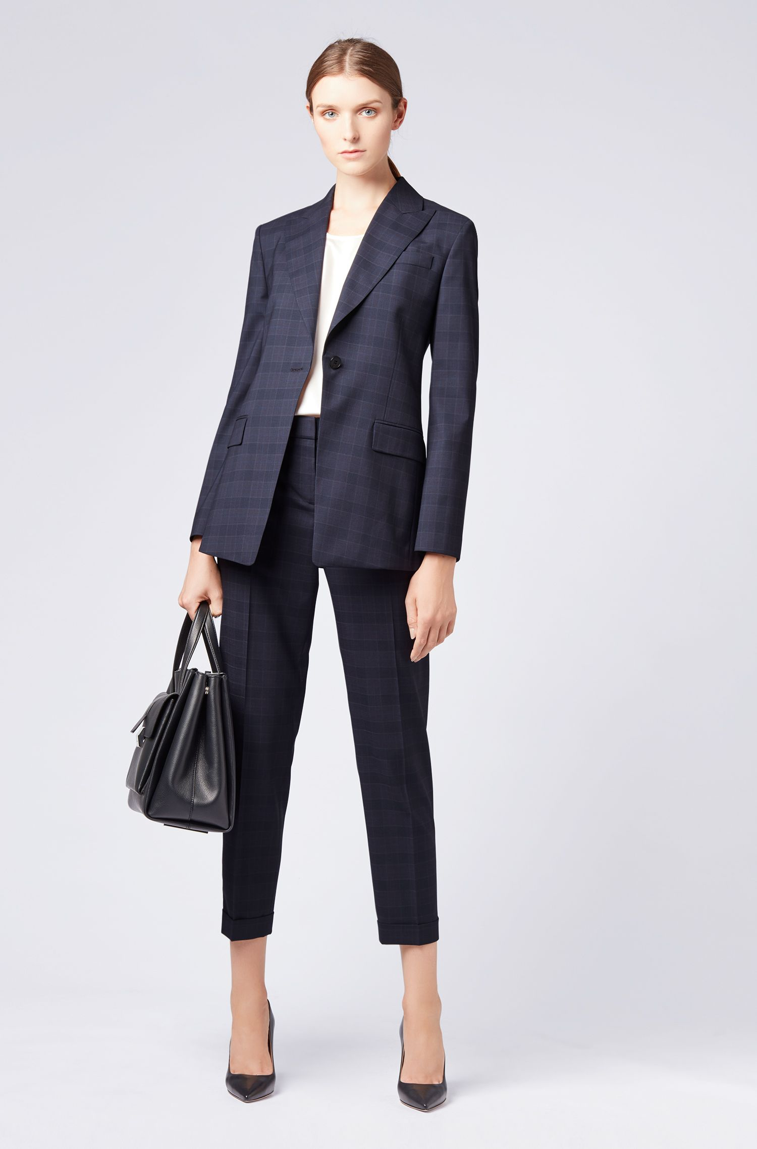 Relaxed-fit pants in checkered virgin wool, Patterned