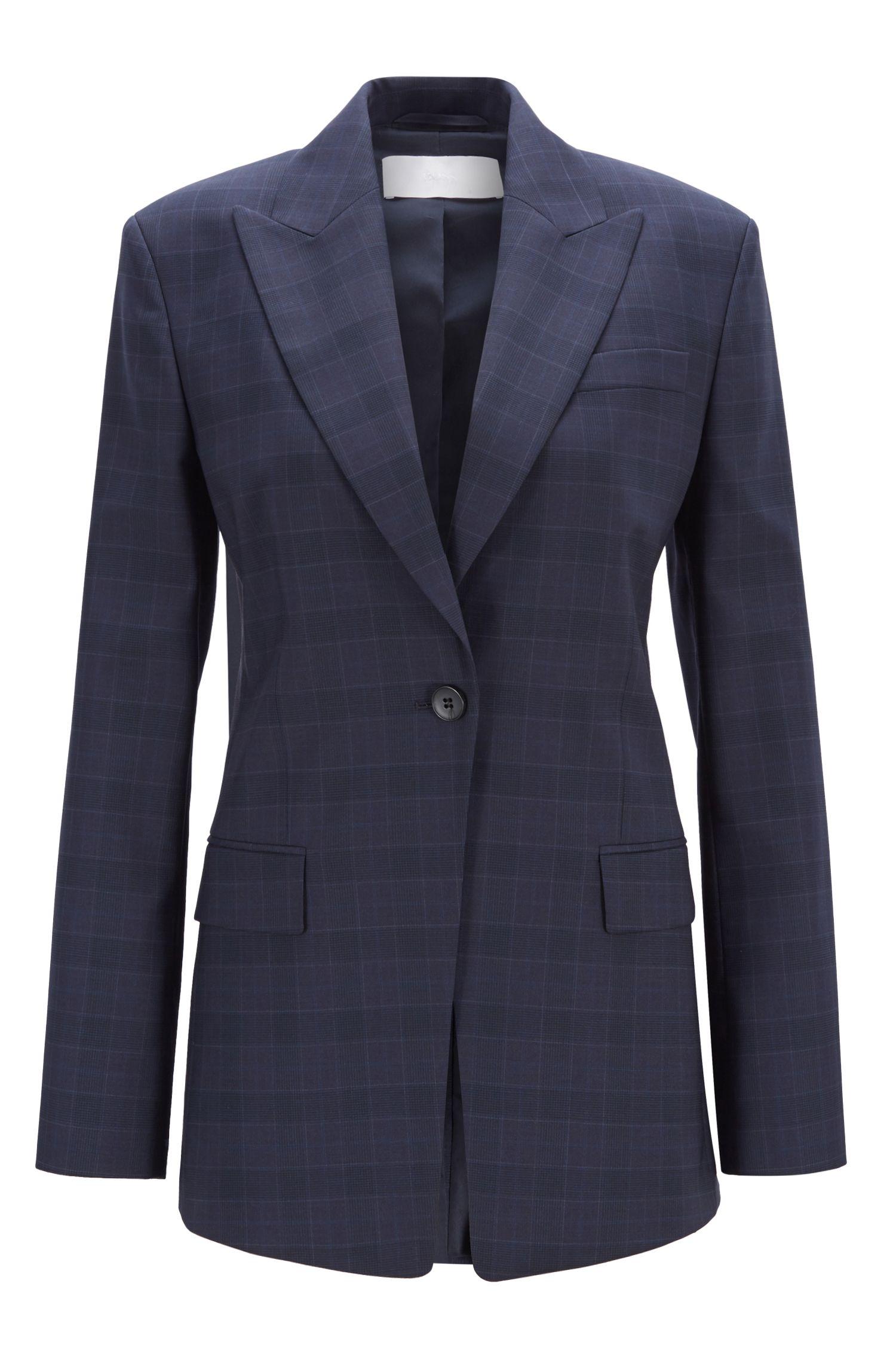 Regular-fit jacket in checkered Italian virgin wool, Patterned