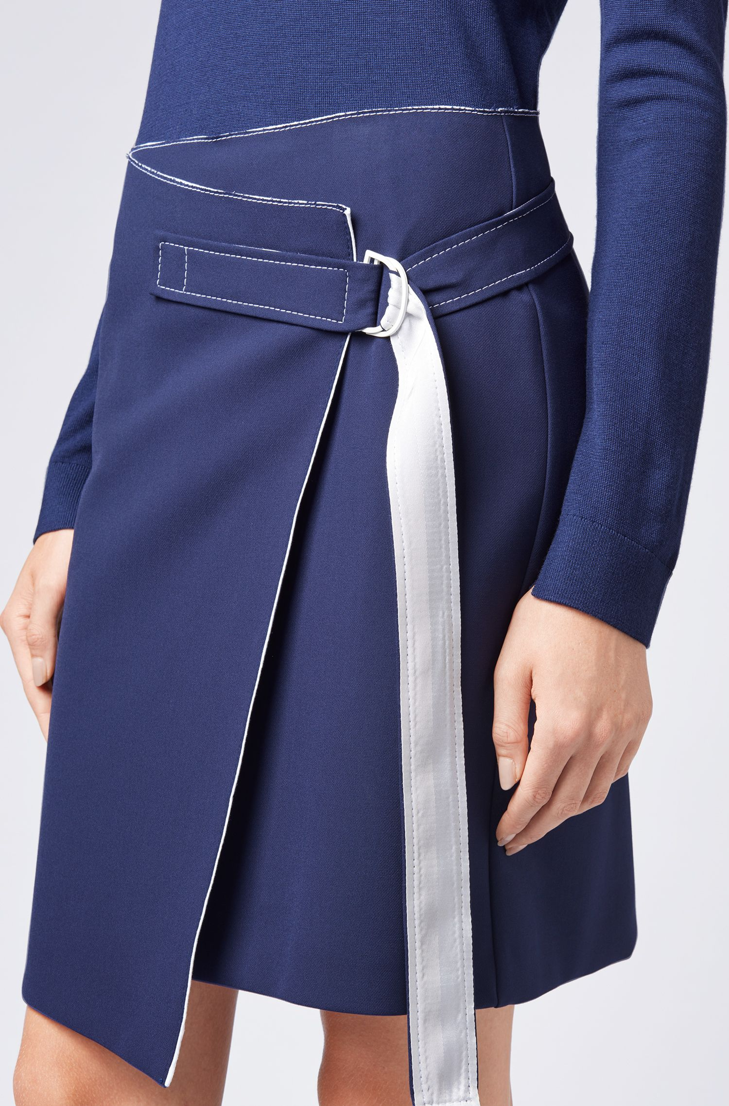 Knee-length wrap skirt with belt and contrast stitching, Dark Blue