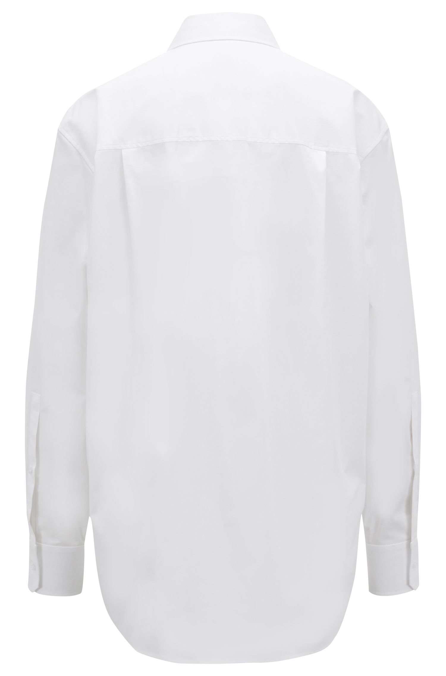 Relaxed-fit boyfriend shirt in paper-touch stretch cotton, White