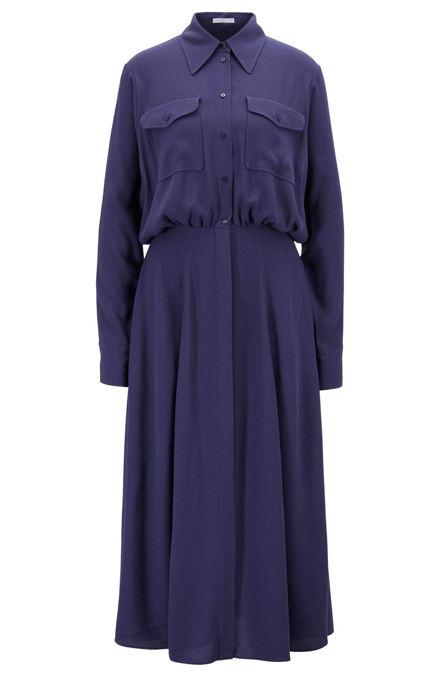 Midi shirt dress in crinkle crepe with gathered waist, Dark Blue