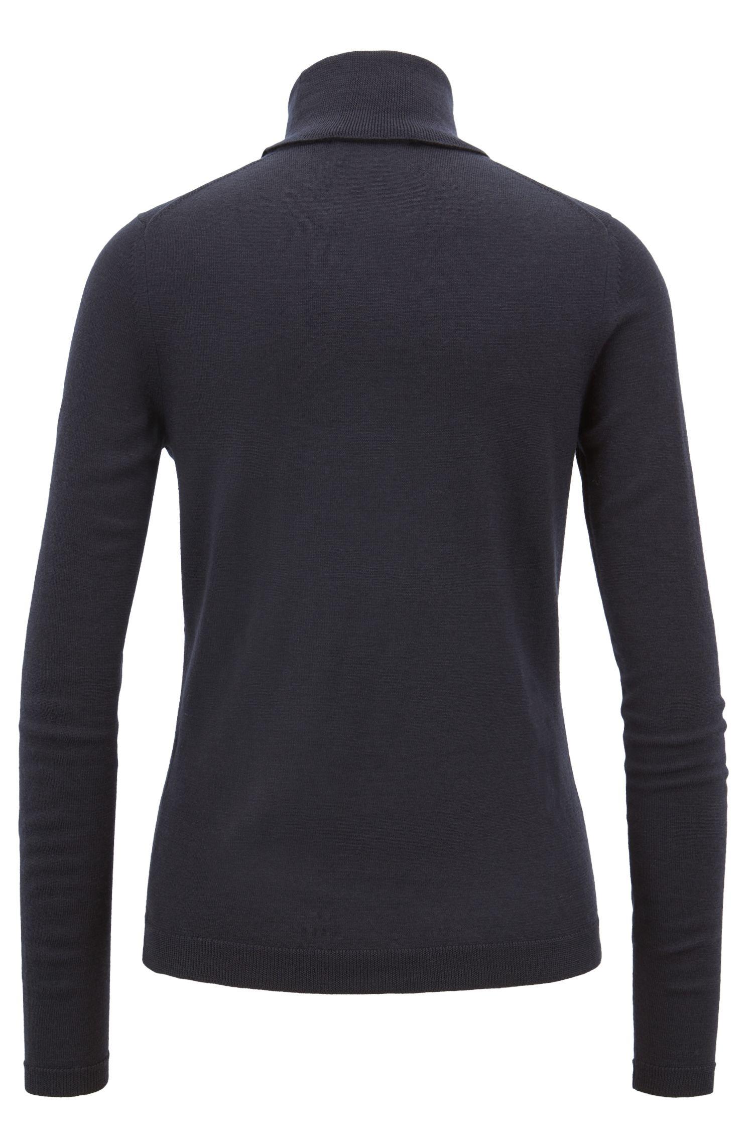 Gallery Collection roll-neck sweater in mercerized virgin wool, Open Blue