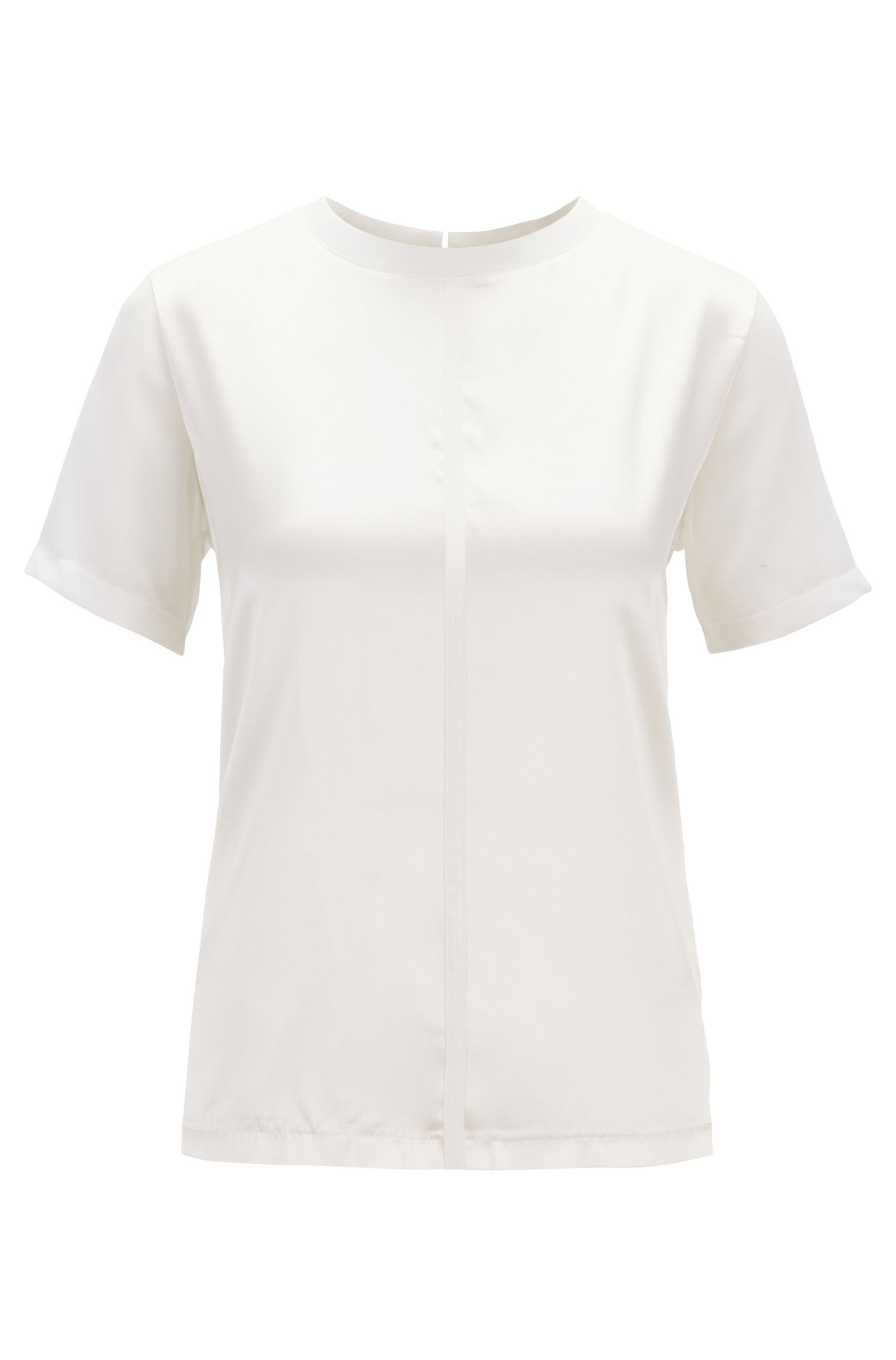 Regular-fit jersey top with stretch-silk front, Natural
