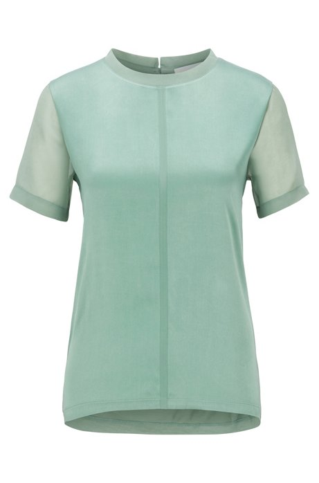 Regular-fit jersey top with stretch-silk front, Light Green