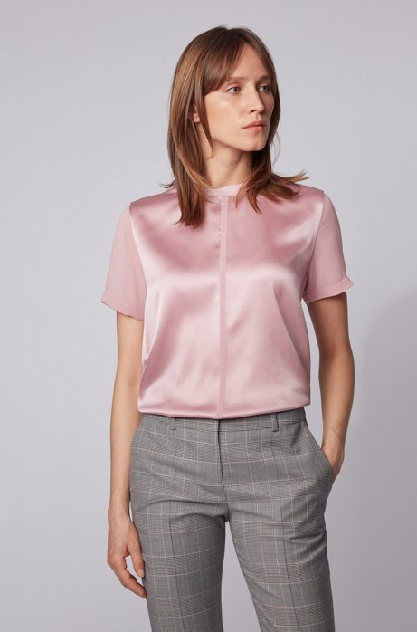 Regular-fit jersey top with stretch-silk front, light pink
