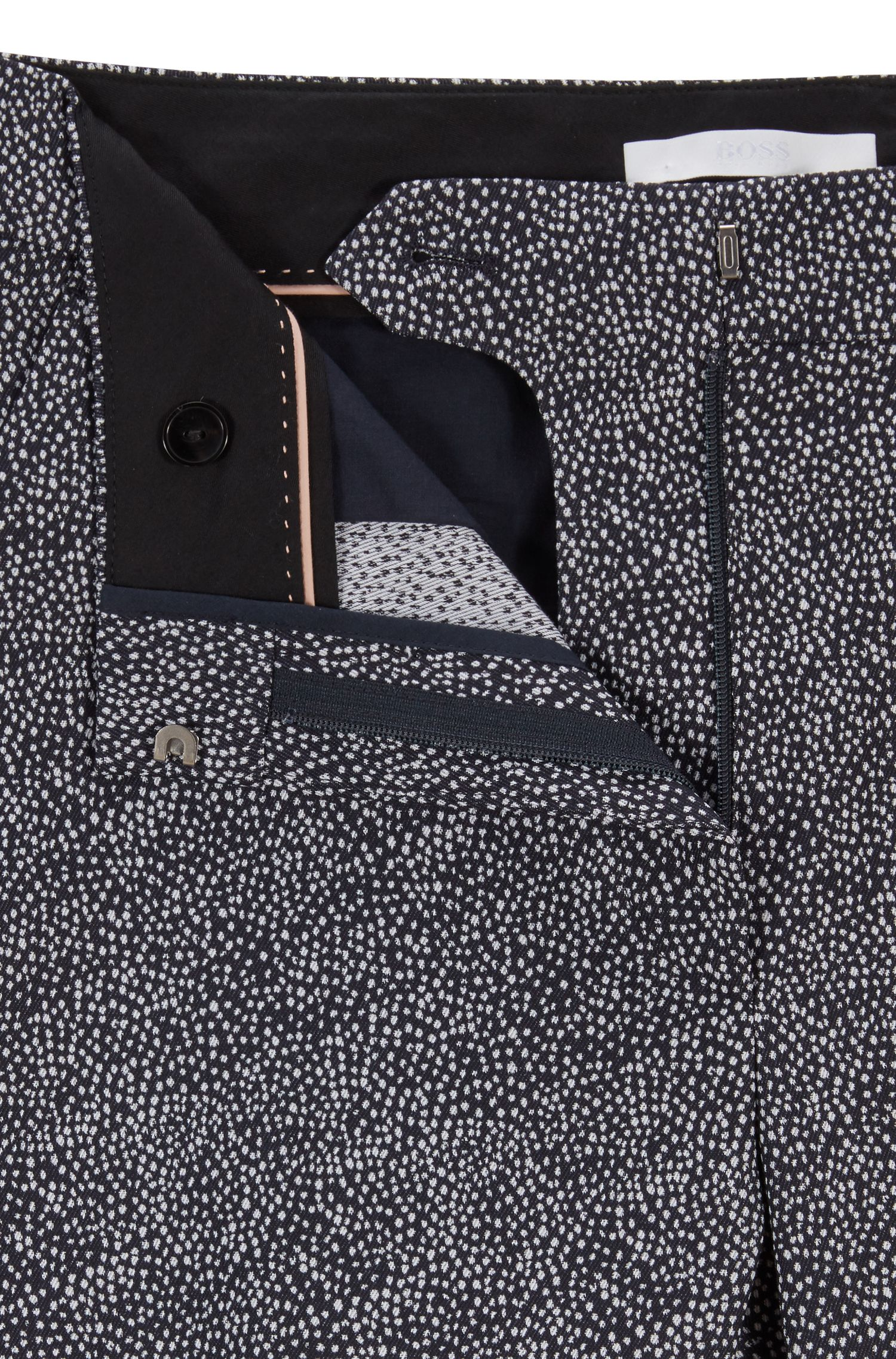 Cropped pants in stretch crepe with dot print, Patterned