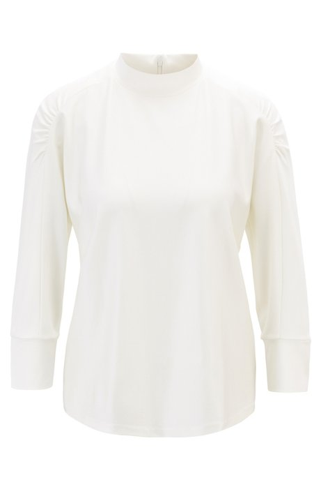 Relaxed-fit top with ruched shoulders in twill structure, Natural