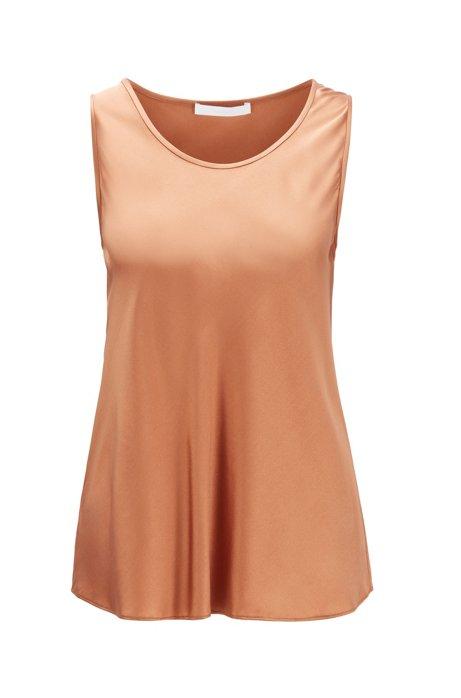 Scoop-neck sleeveless top in stretch silk, Brown