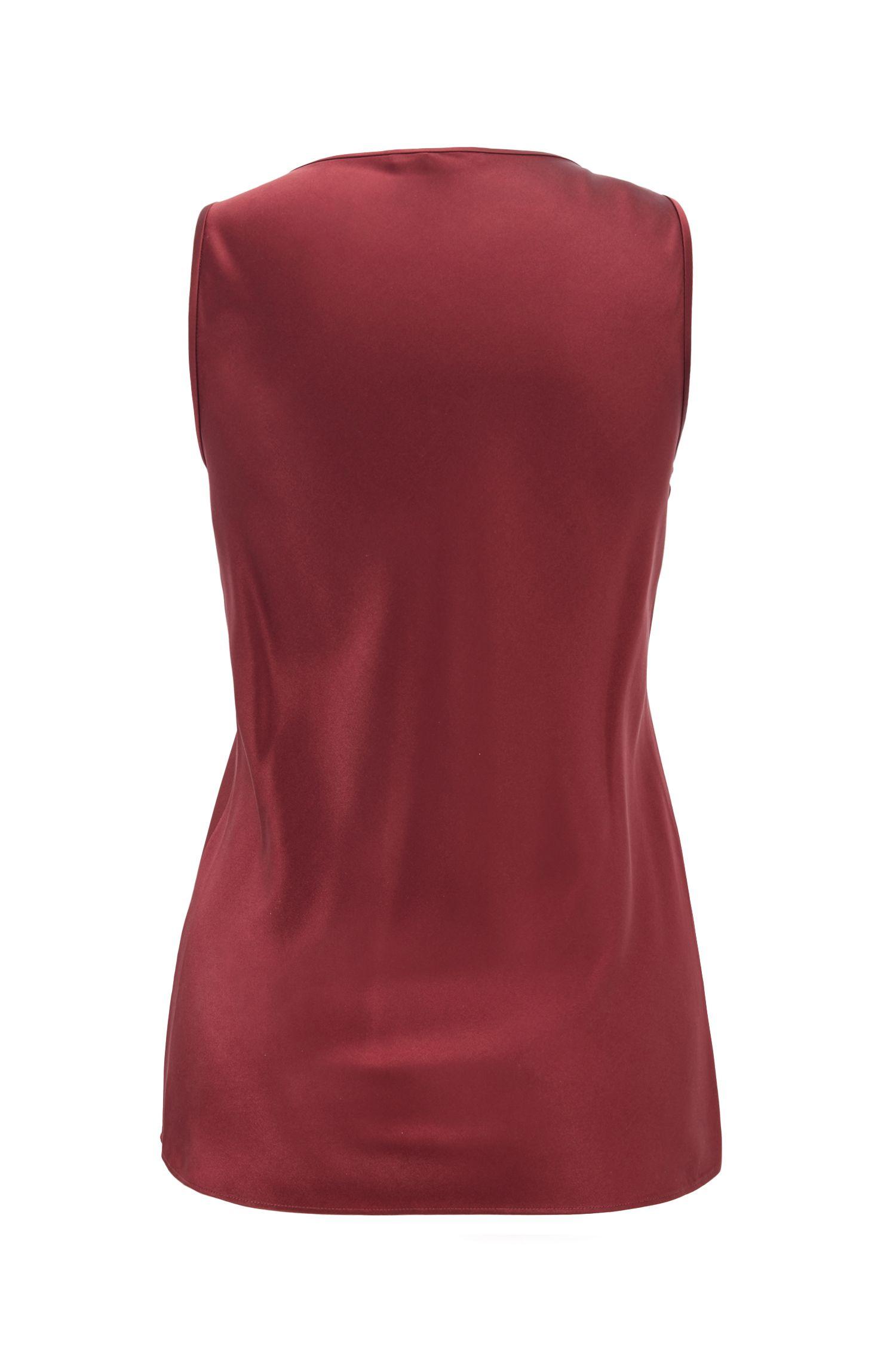 Scoop-neck sleeveless top in stretch silk, Dark Red