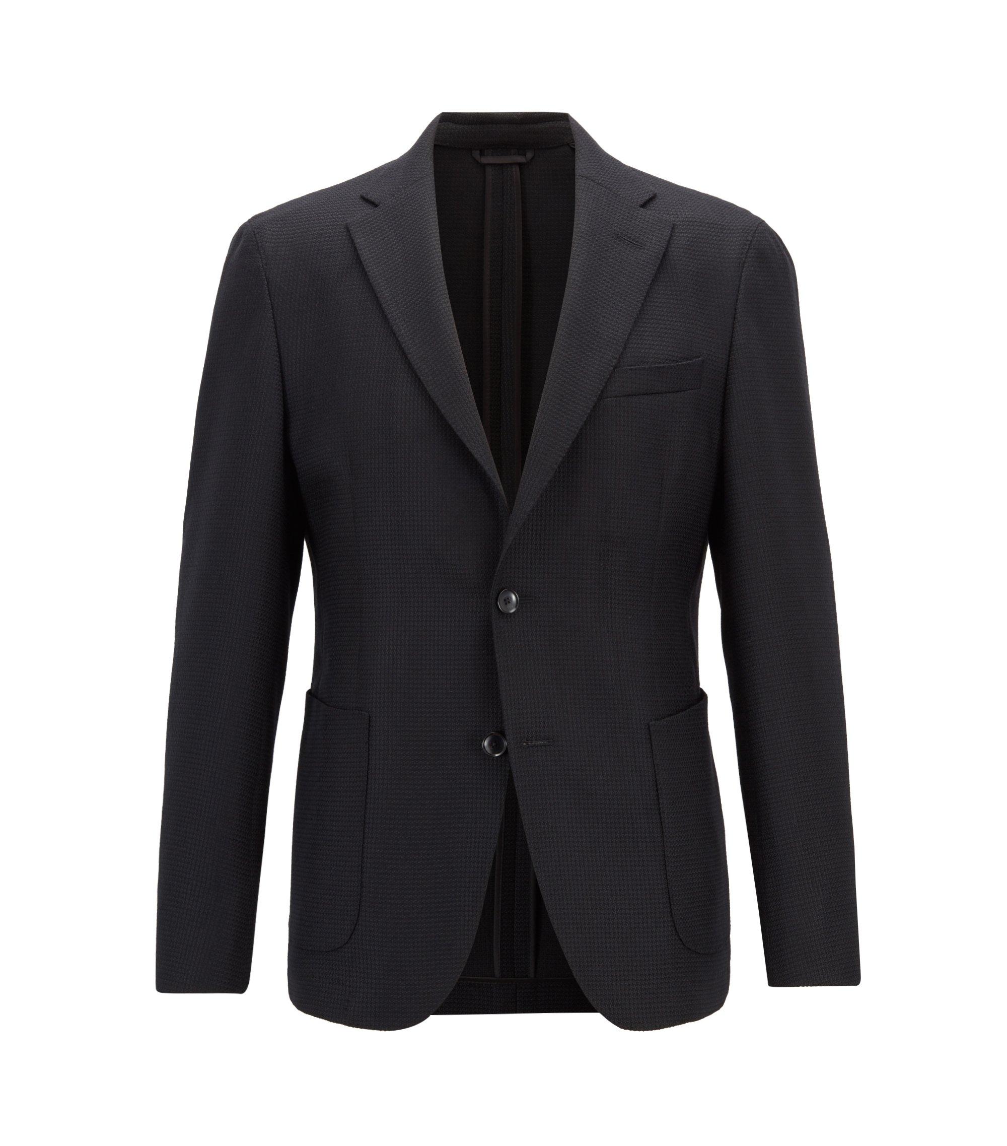 Slim-fit blazer in micro-structured stretch virgin wool, Black