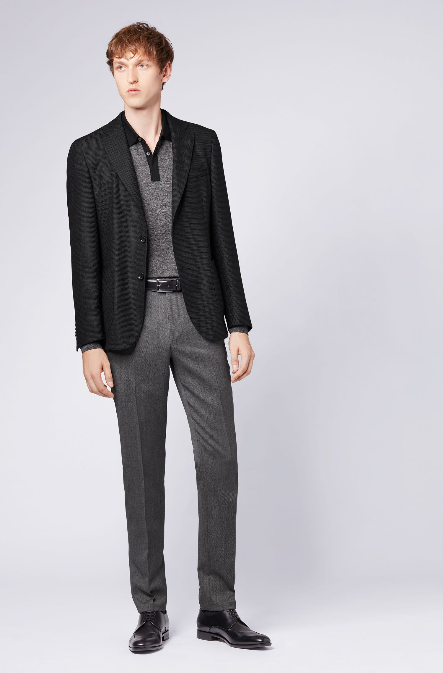 Slim-fit blazer in micro-structured stretch virgin wool, Black