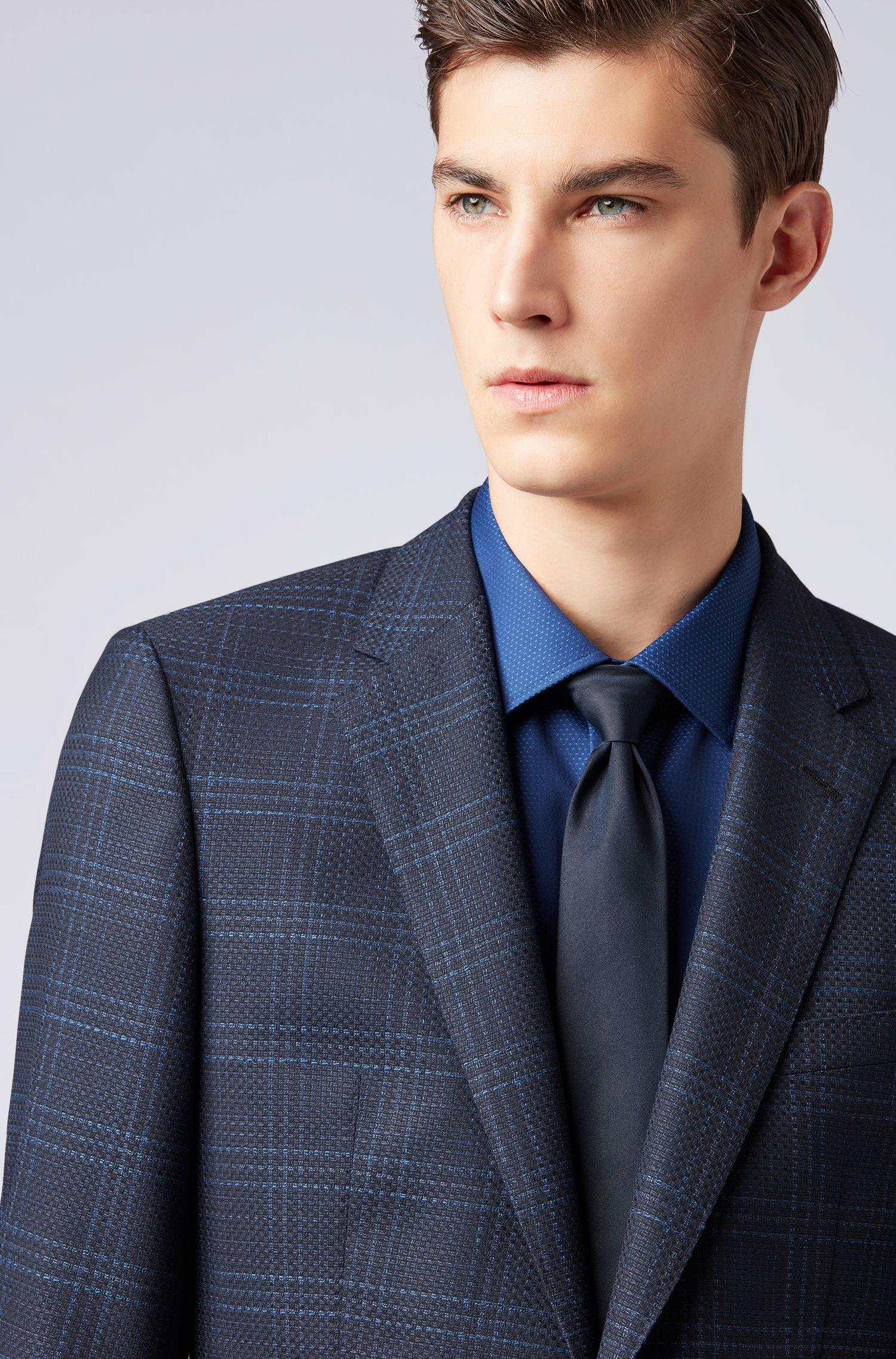 Slim-fit blazer in checkered virgin wool, Dark Blue