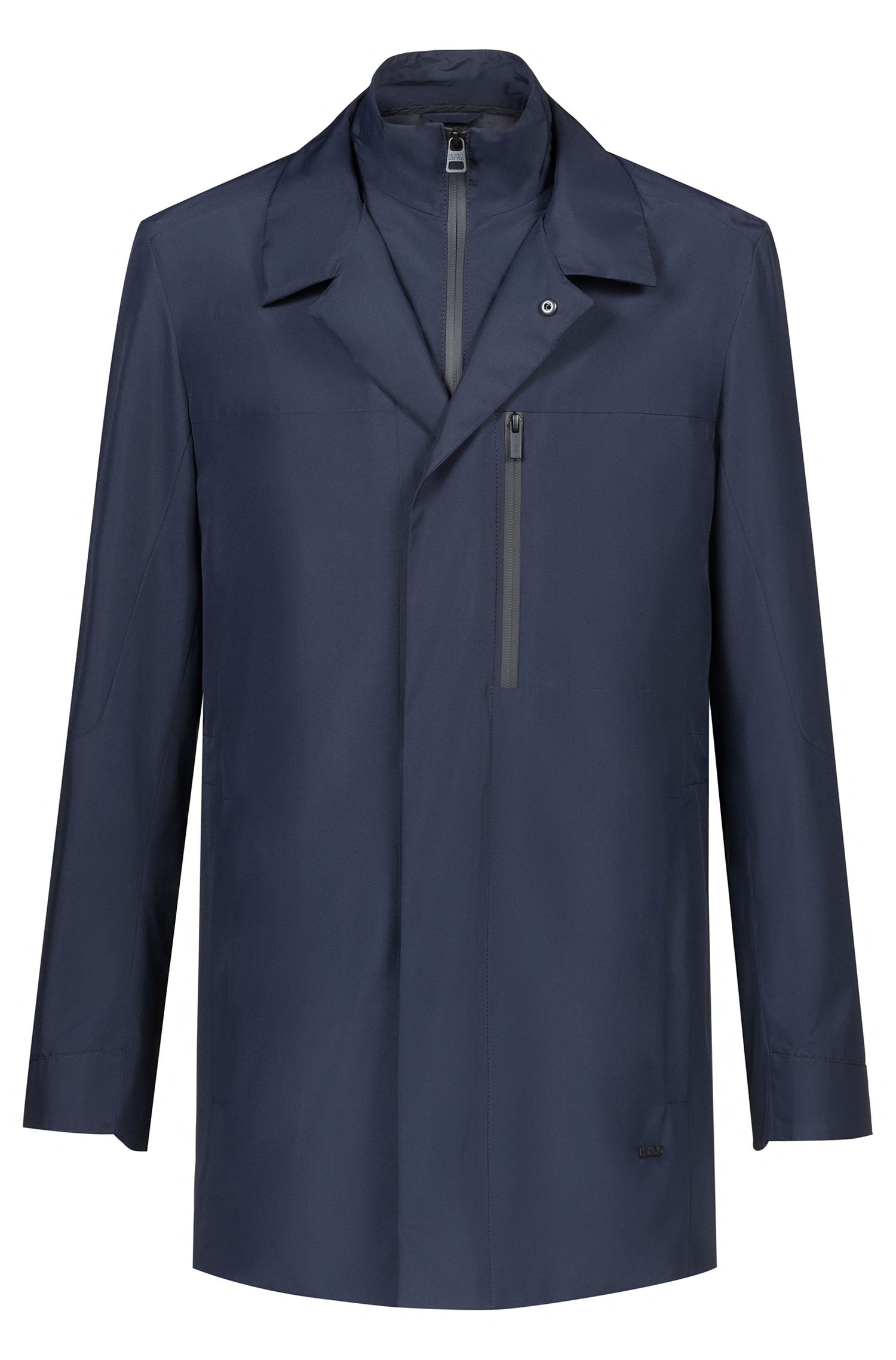 Water-repellent jacket with detachable stand collar, Dark Blue