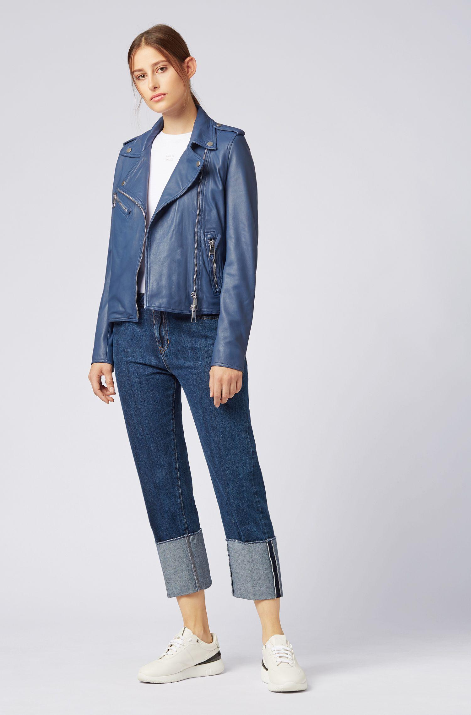Asymmetric biker jacket in nappa lambskin leather with soft inner lining, Blue