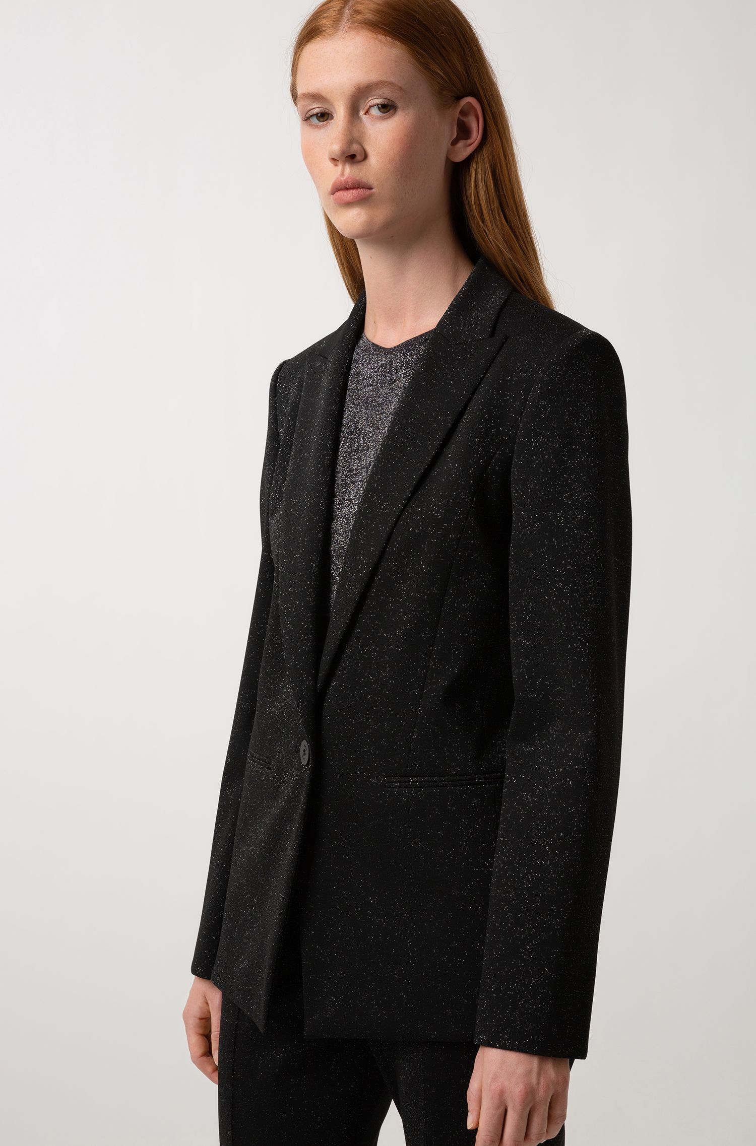 Regular-fit jacket in sparkly stretch-jersey fabric, Patterned