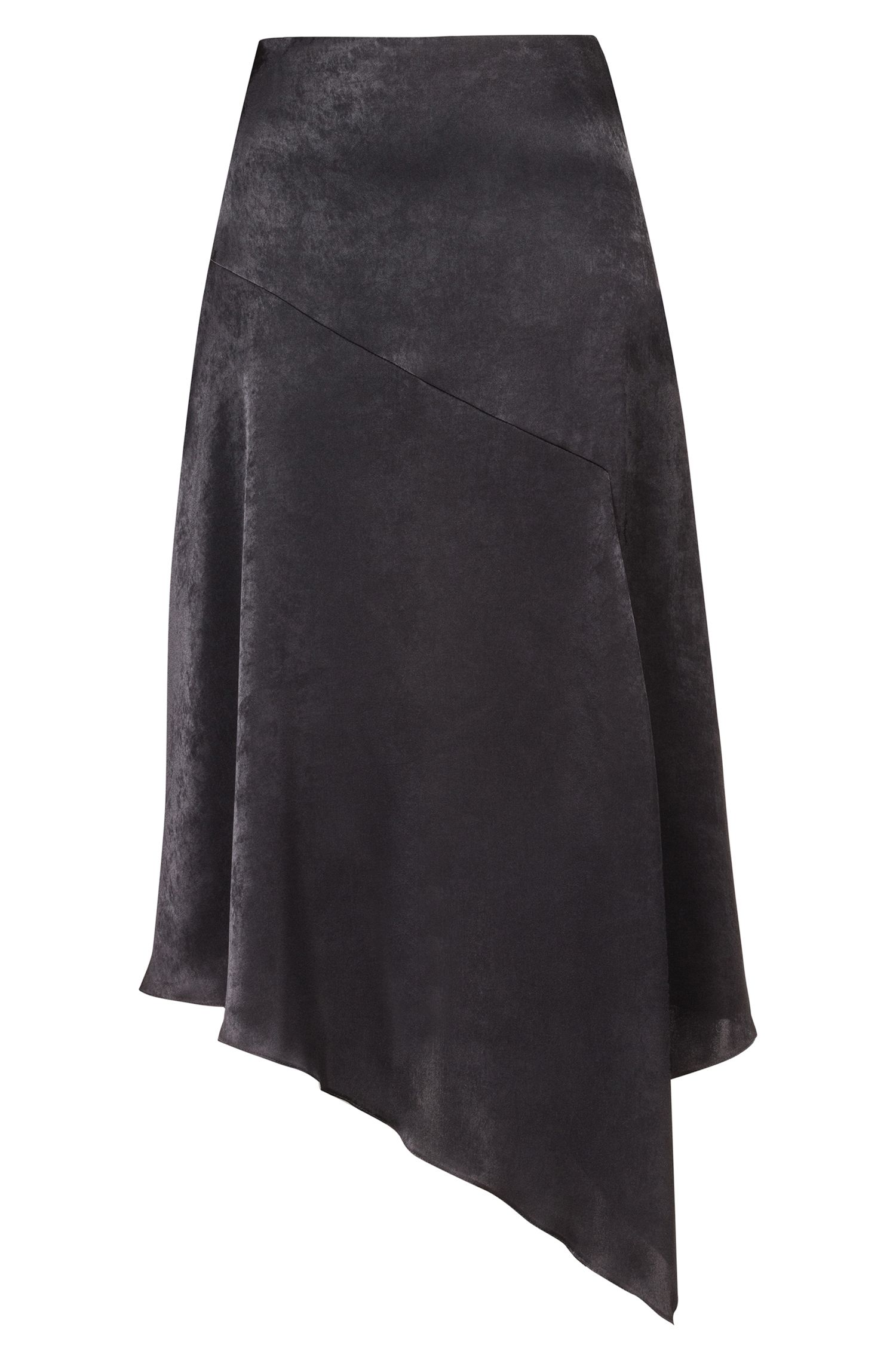 Regular-fit skirt with asymmetric hemline, Black