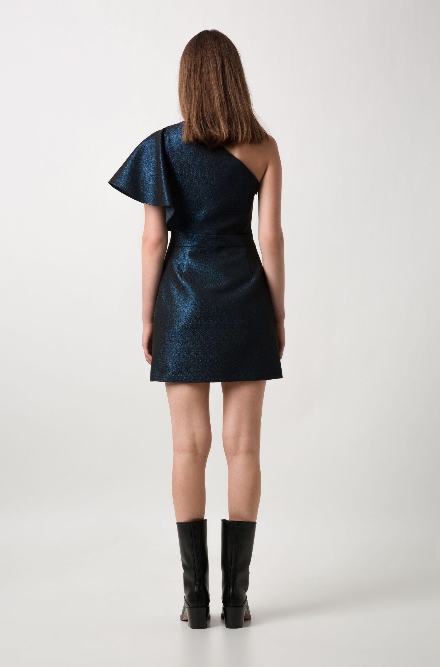 Regular-fit one-shoulder evening dress in sparkly jersey, Patterned