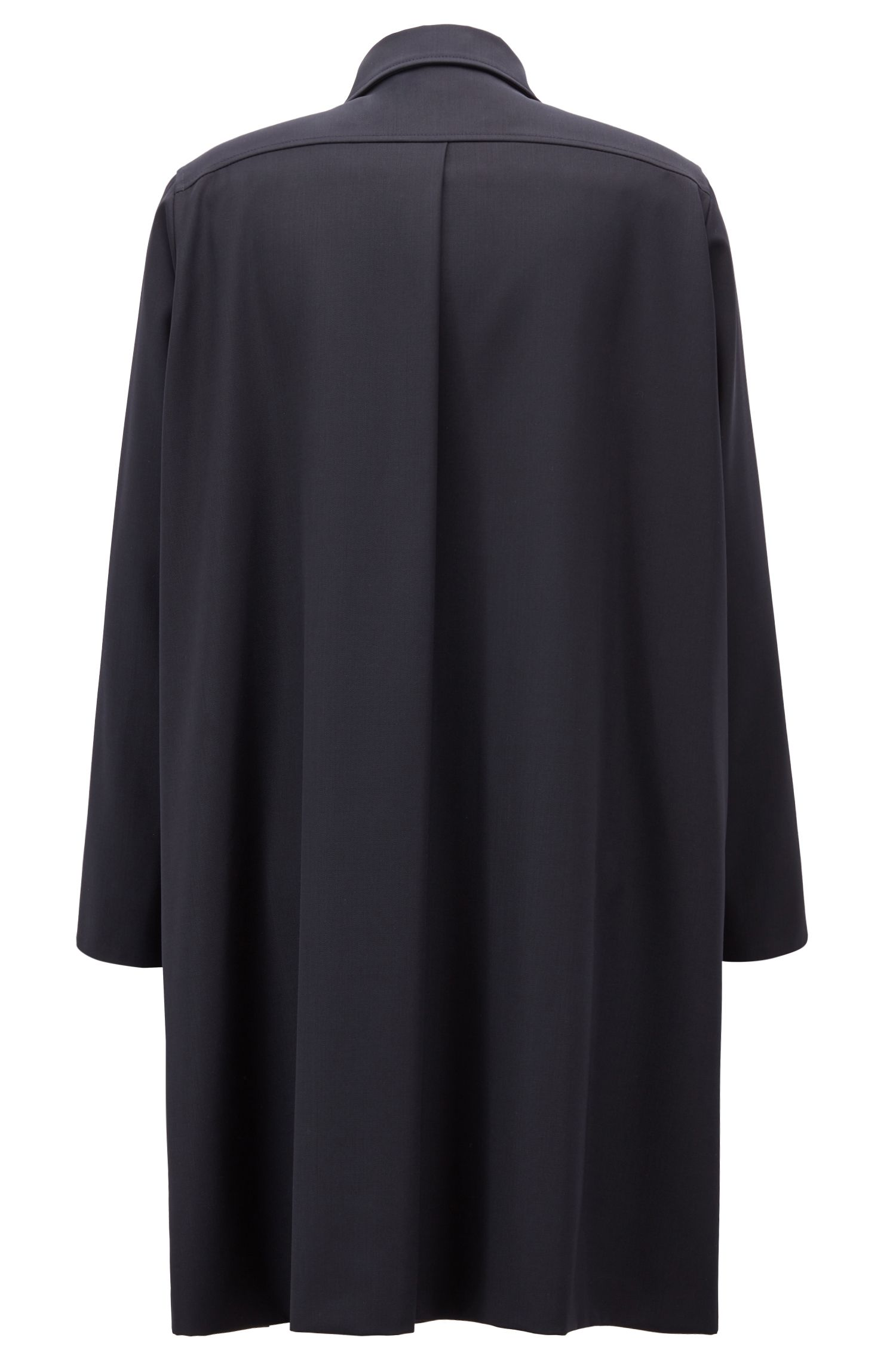 Long-length oversize coat with concealed placket, Open Blue