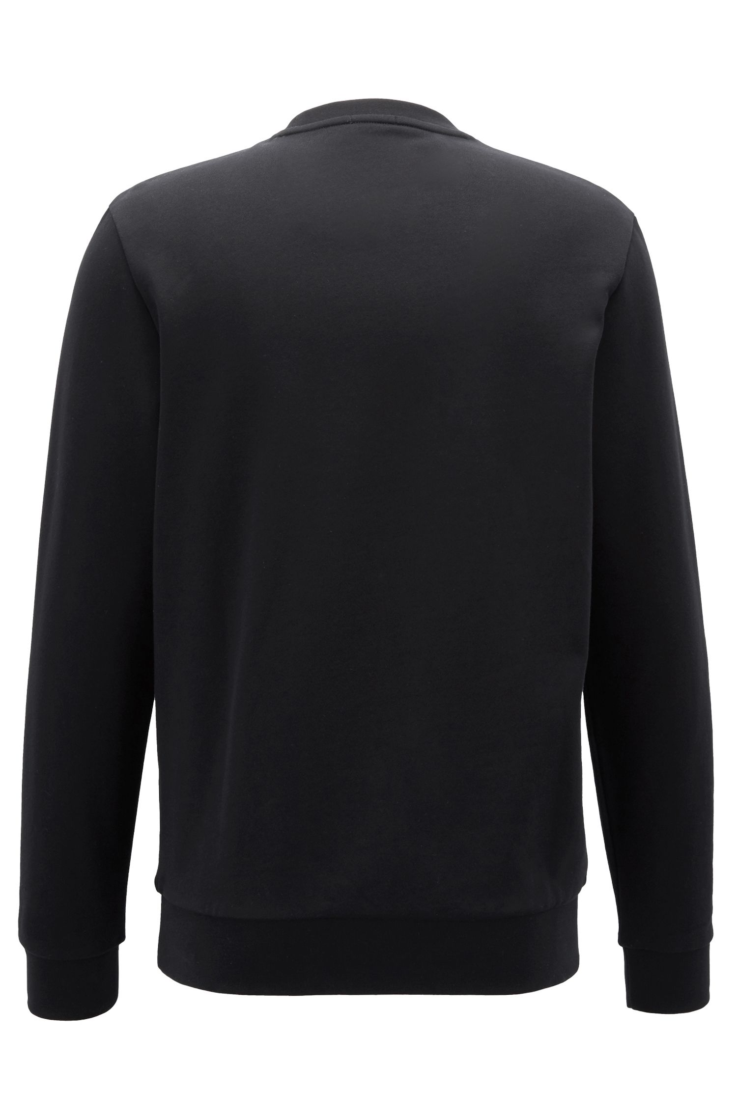 Logo sweatshirt in cotton piqué, Black