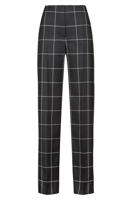 Regular-fit pants with a large-scale check, Patterned