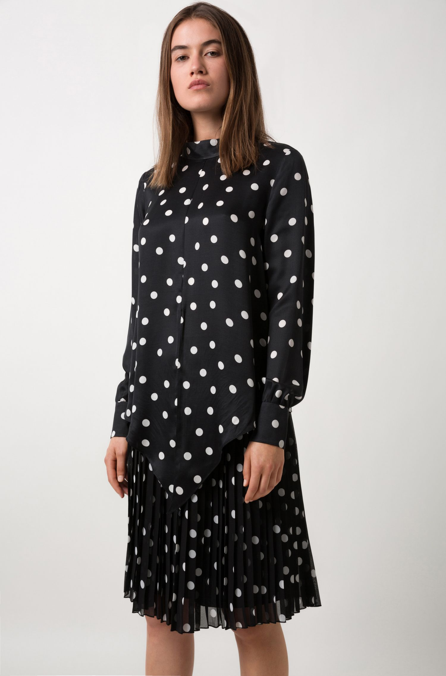Silky polka-dot top with tie front, Patterned