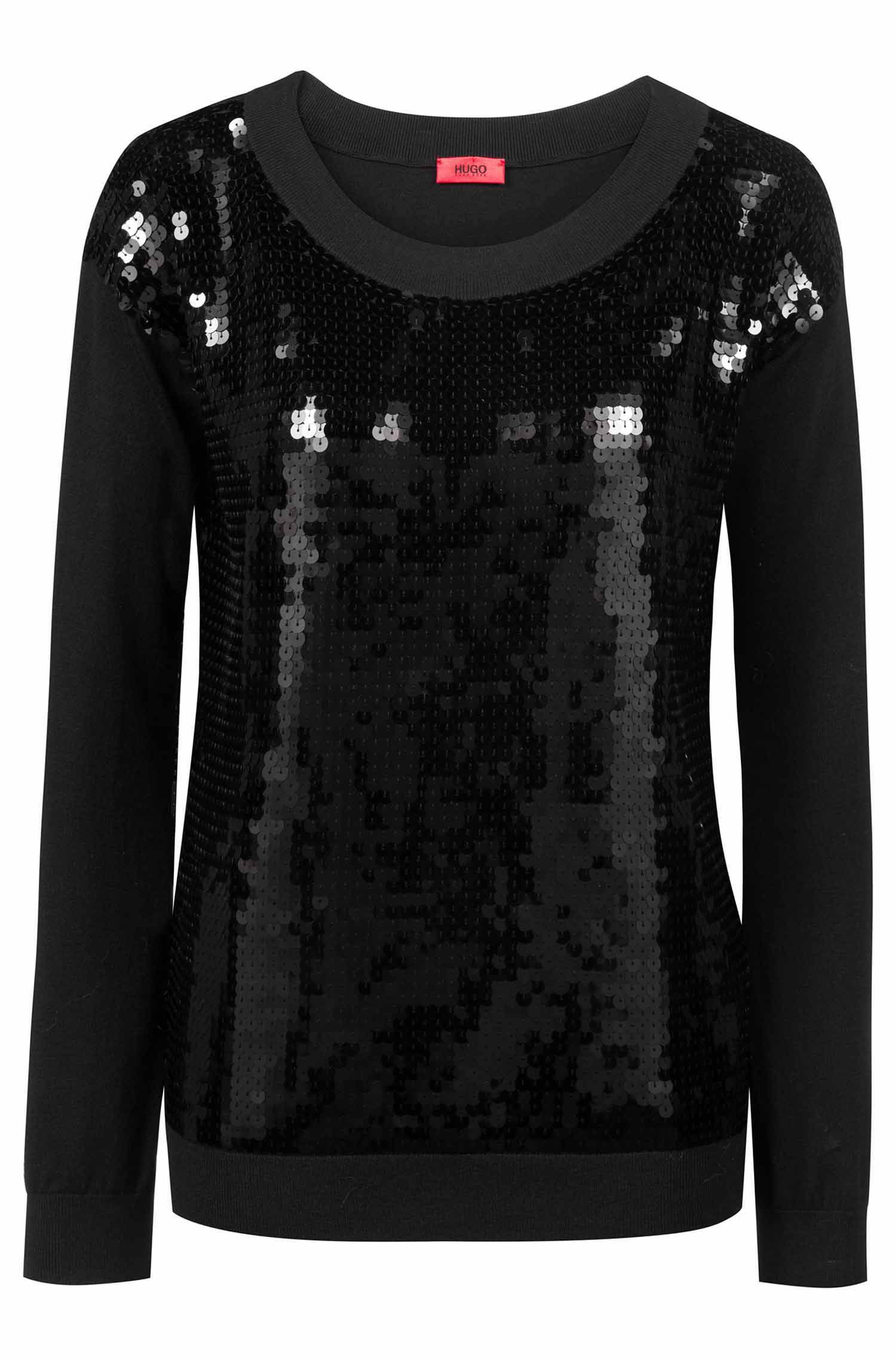 Sequined sweater with boat neckline, Black