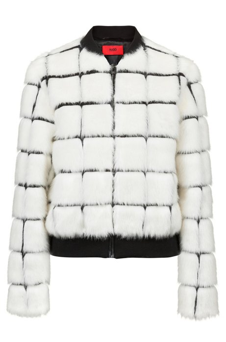 Faux-fur bomber jacket with contrast lines, Patterned