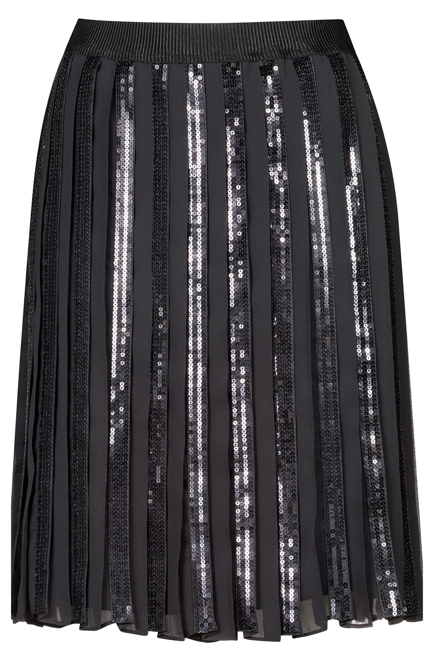 A-line plissé skirt with sequined panels, Black