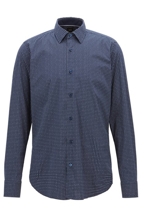 763a006b7 BOSS - Regular-fit shirt with exclusive micro-pattern print