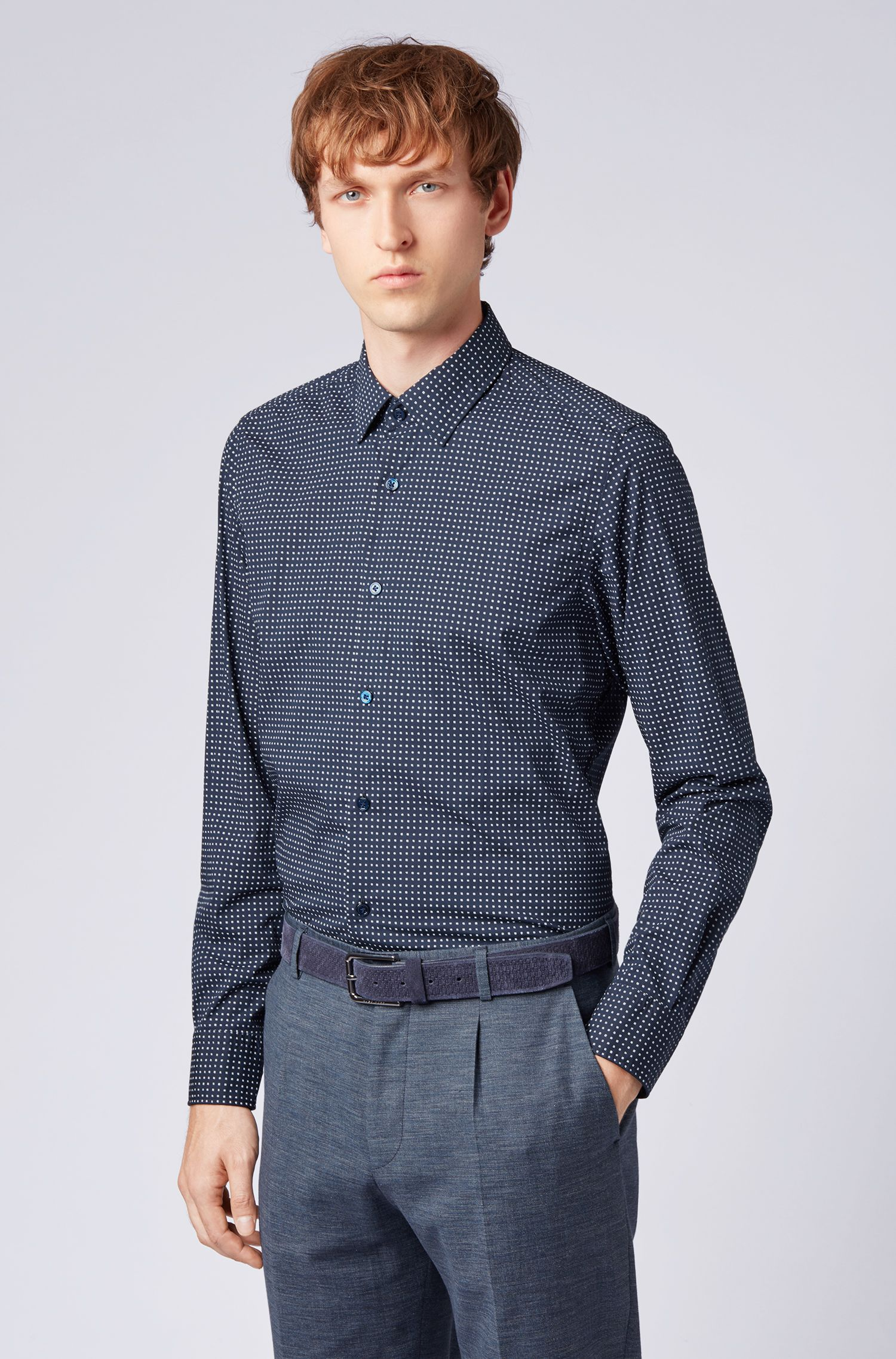 Regular-fit shirt with exclusive micro-pattern print, Open Blue