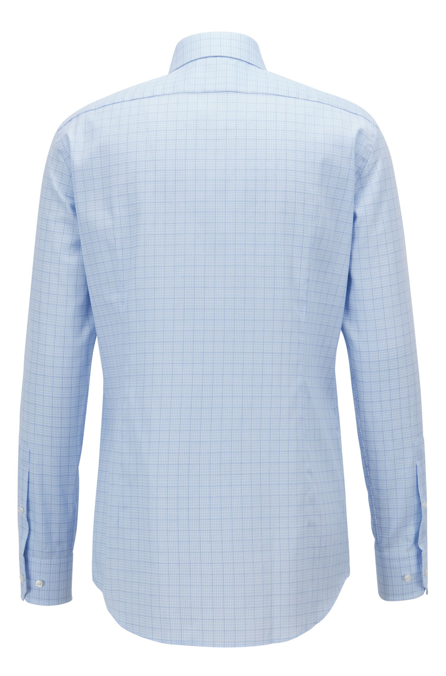 Slim-fit shirt in structured cotton with mouliné overcheck, Light Blue