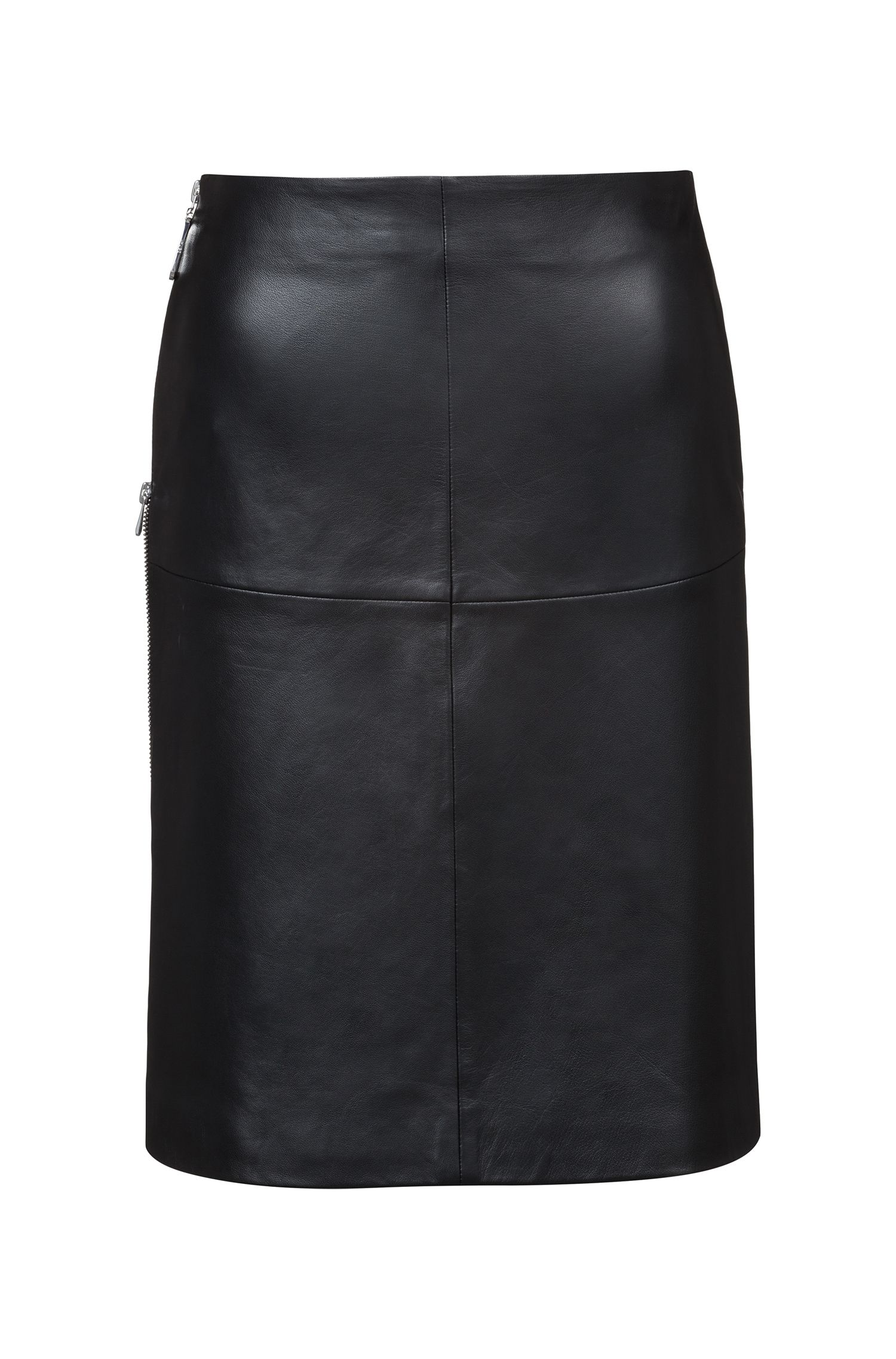 Regular-fit A-line skirt in lambskin with side zipper, Black