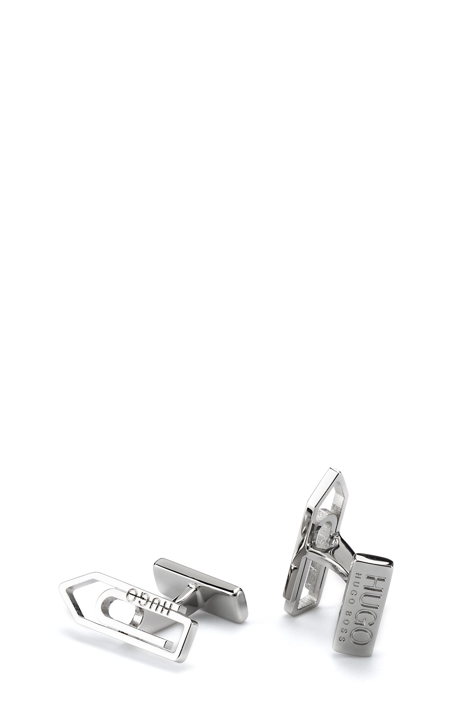 Paperclip cufflinks in polished brass, Silver