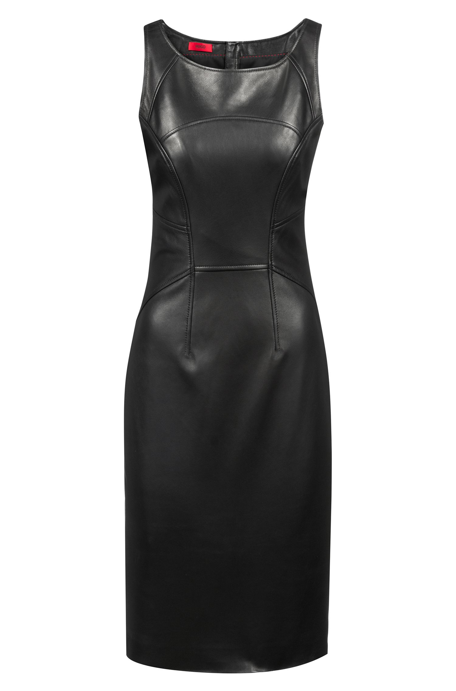Lambskin leather shift dress with statement zipper, Black