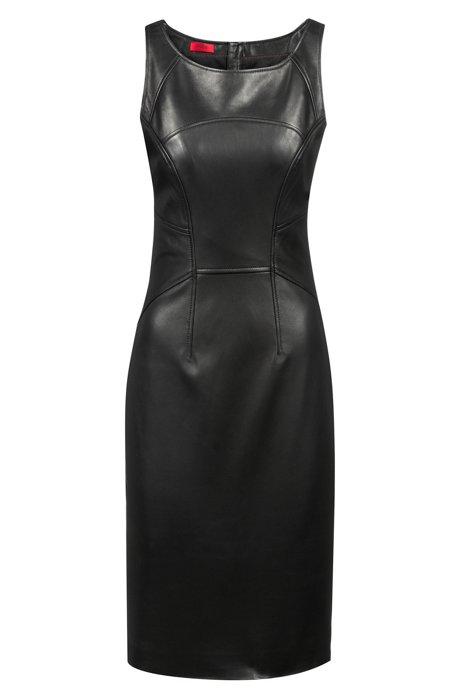 Lambskin leather shift dress with statement zipper, Black