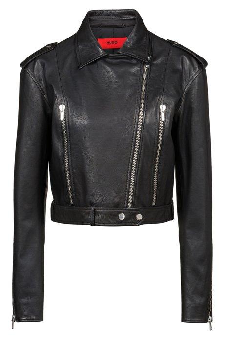 Cropped asymmetric biker jacket in grained calf leather, Black