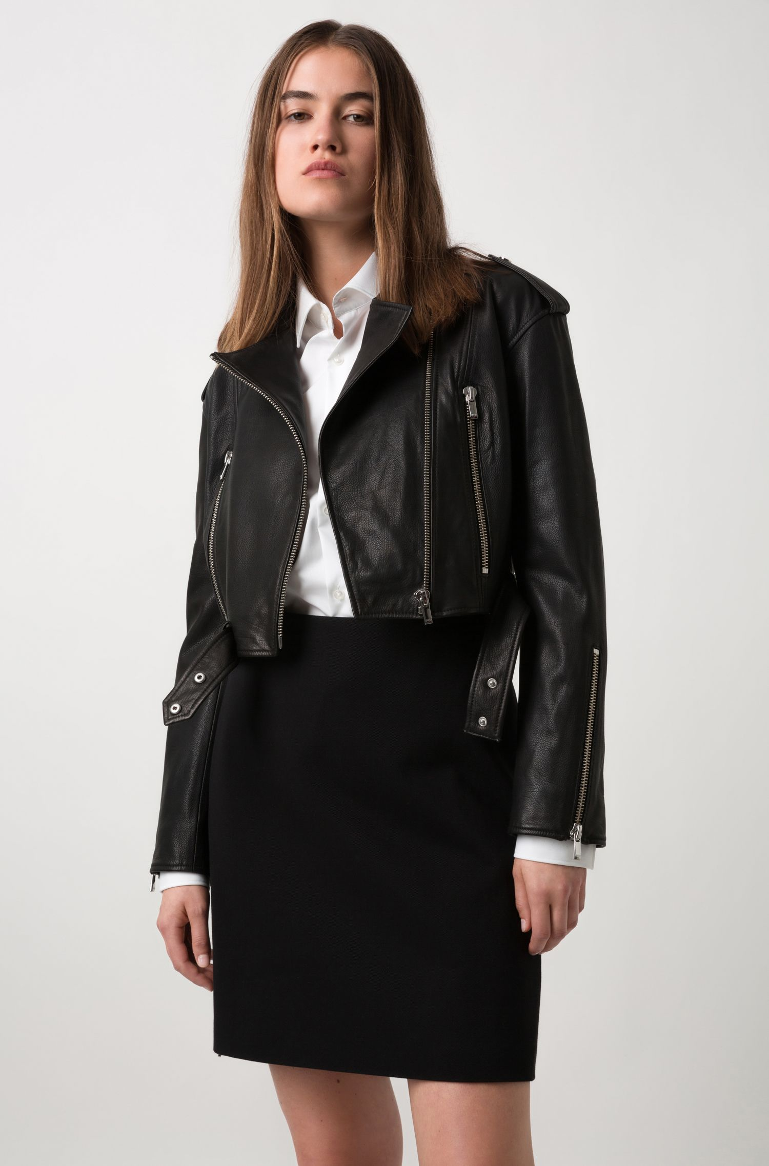 Cropped asymmetric biker jacket in grained calf leather, Black