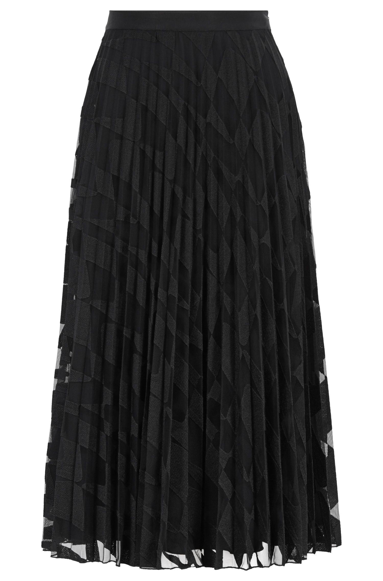 A-line plissé midi skirt in graphic-embroidered tulle, Patterned