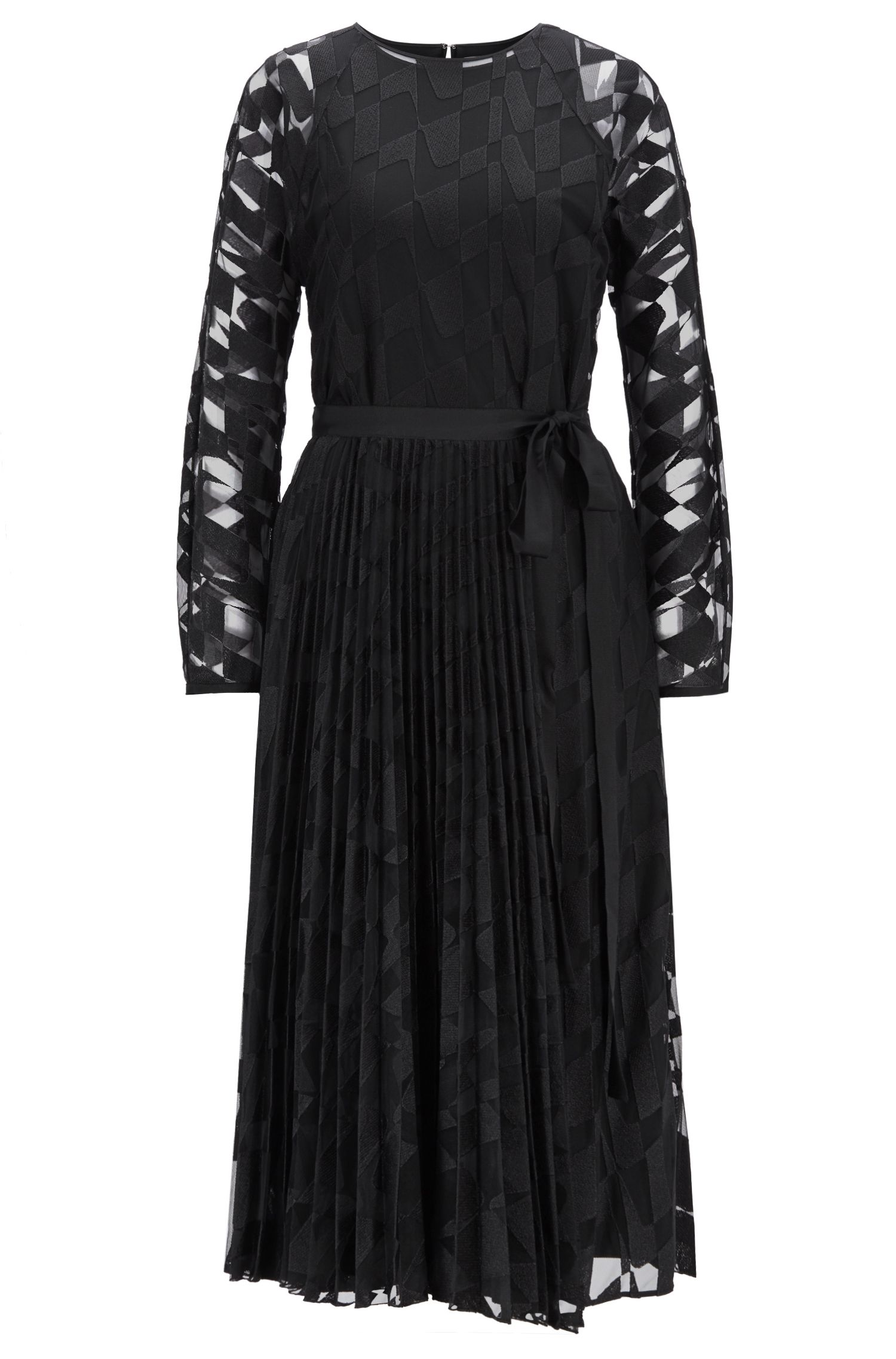Long-sleeved midi dress in embroidered tulle with plissé skirt, Patterned
