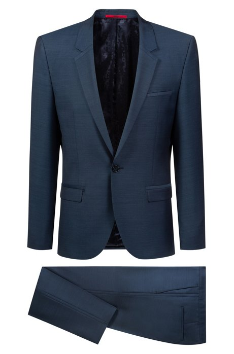 Extra-slim-fit tuxedo in virgin-wool micro twill, Dark Blue