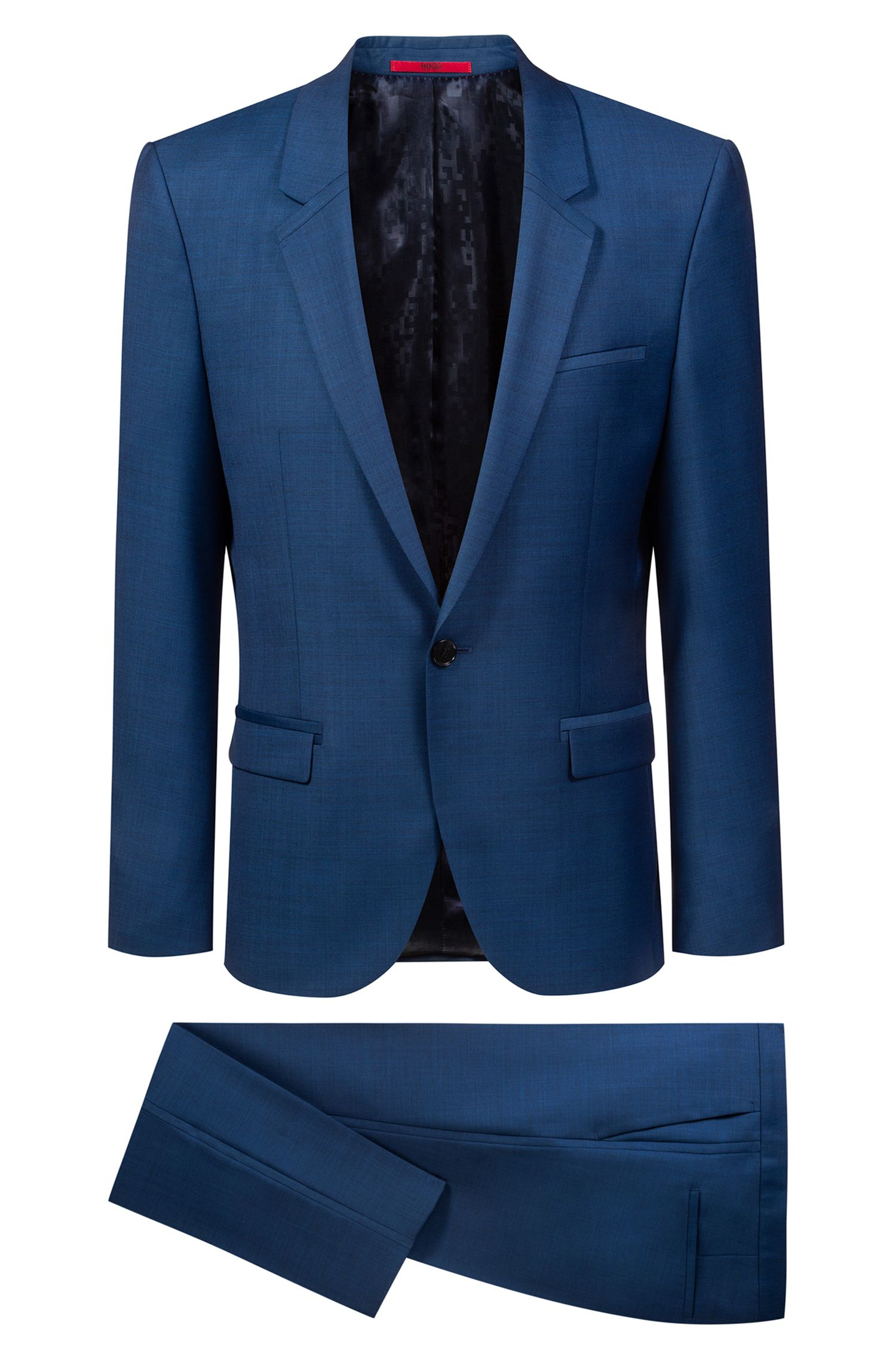 Extra-slim-fit tuxedo in virgin-wool micro twill, Blue