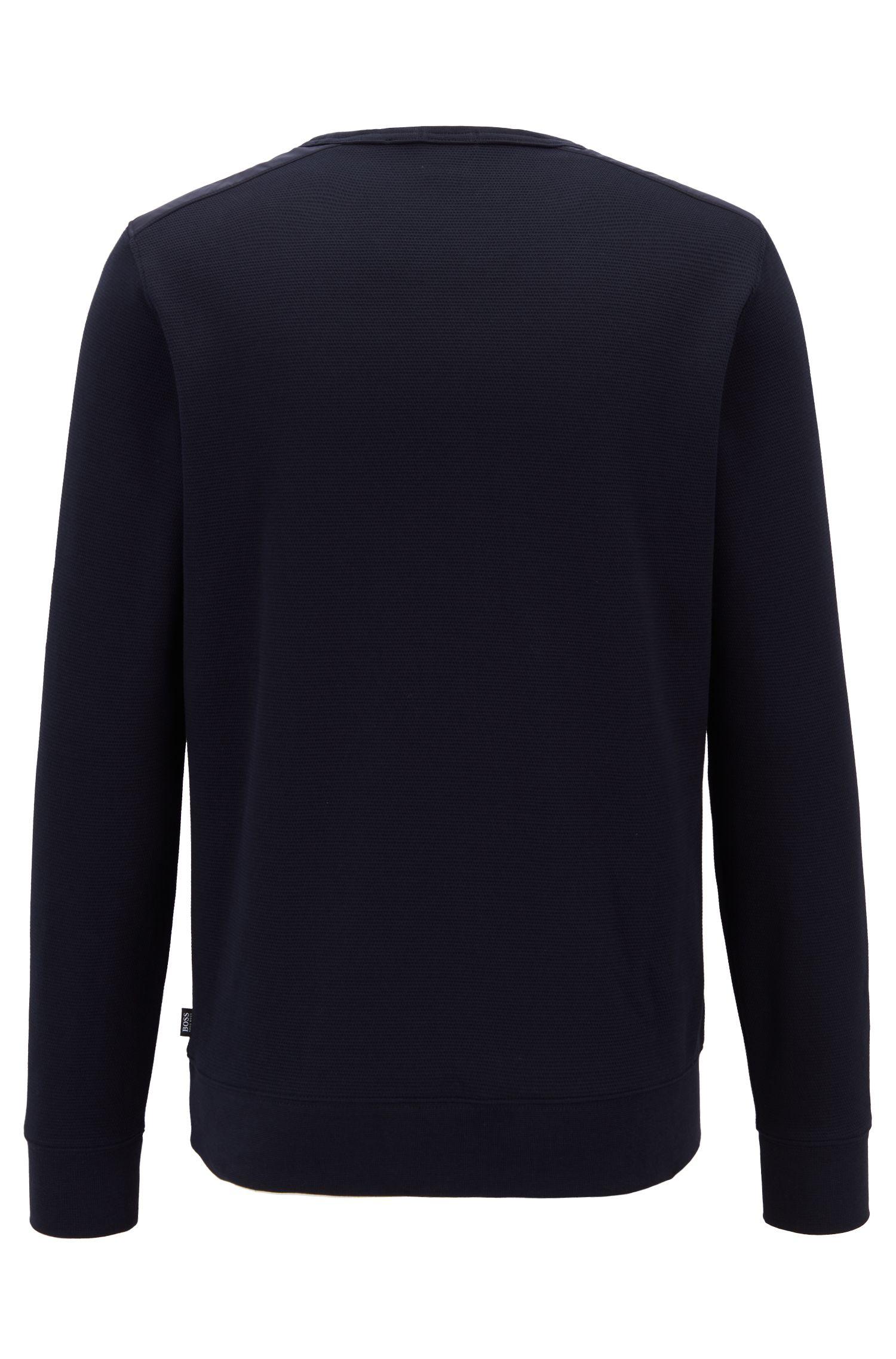 Slim-fit sweatshirt in a structured cotton blend with contrast inserts, Dark Blue