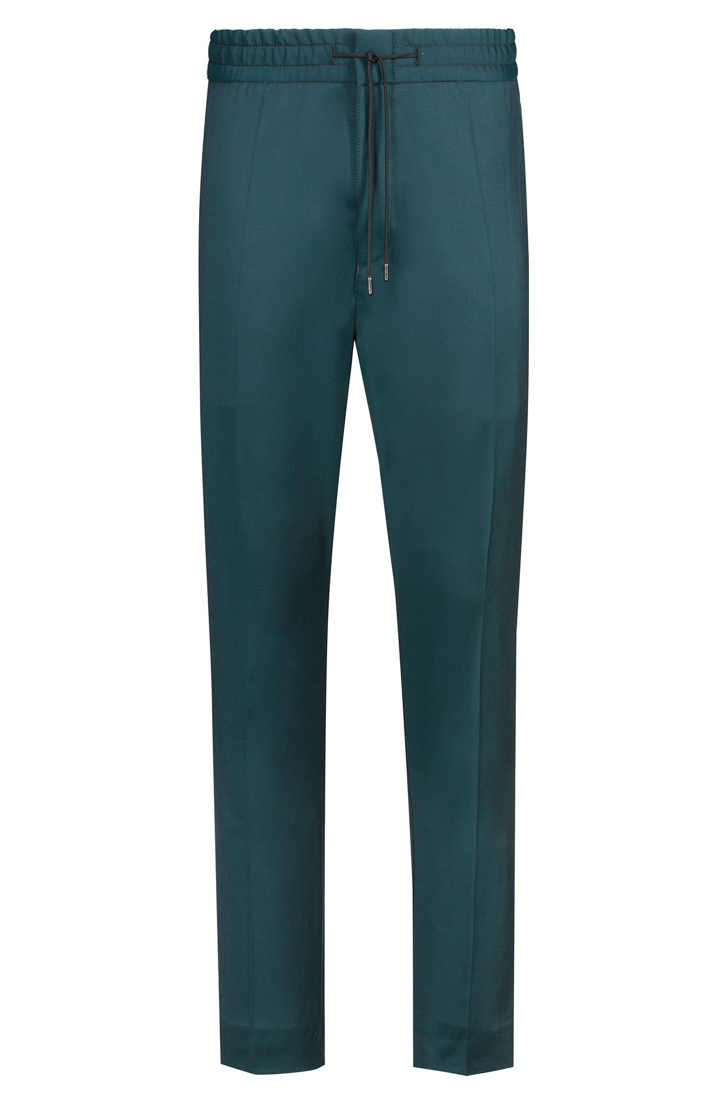 Tapered-fit pants in virgin wool with natural stretch, Dark Green