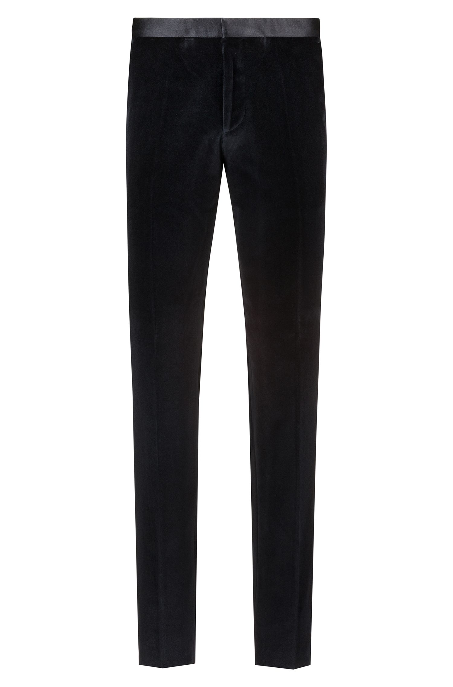 Extra-slim-fit velvet suit with silk trim, Black
