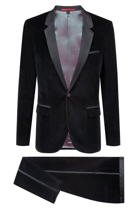 Extra-slim-fit velvet suit with silk trim, Black