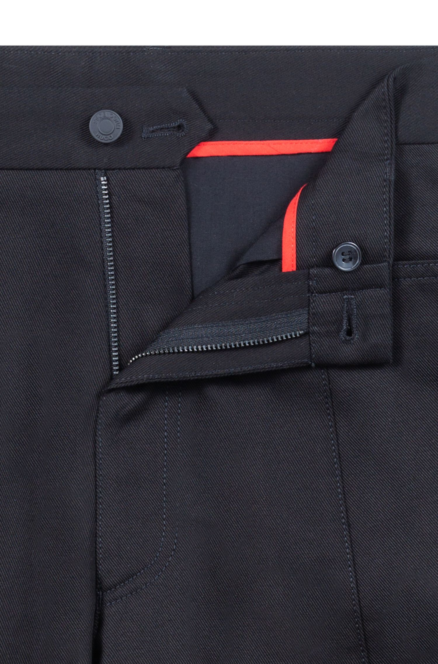 Cotton pants with workwear-inspired stitching, Black