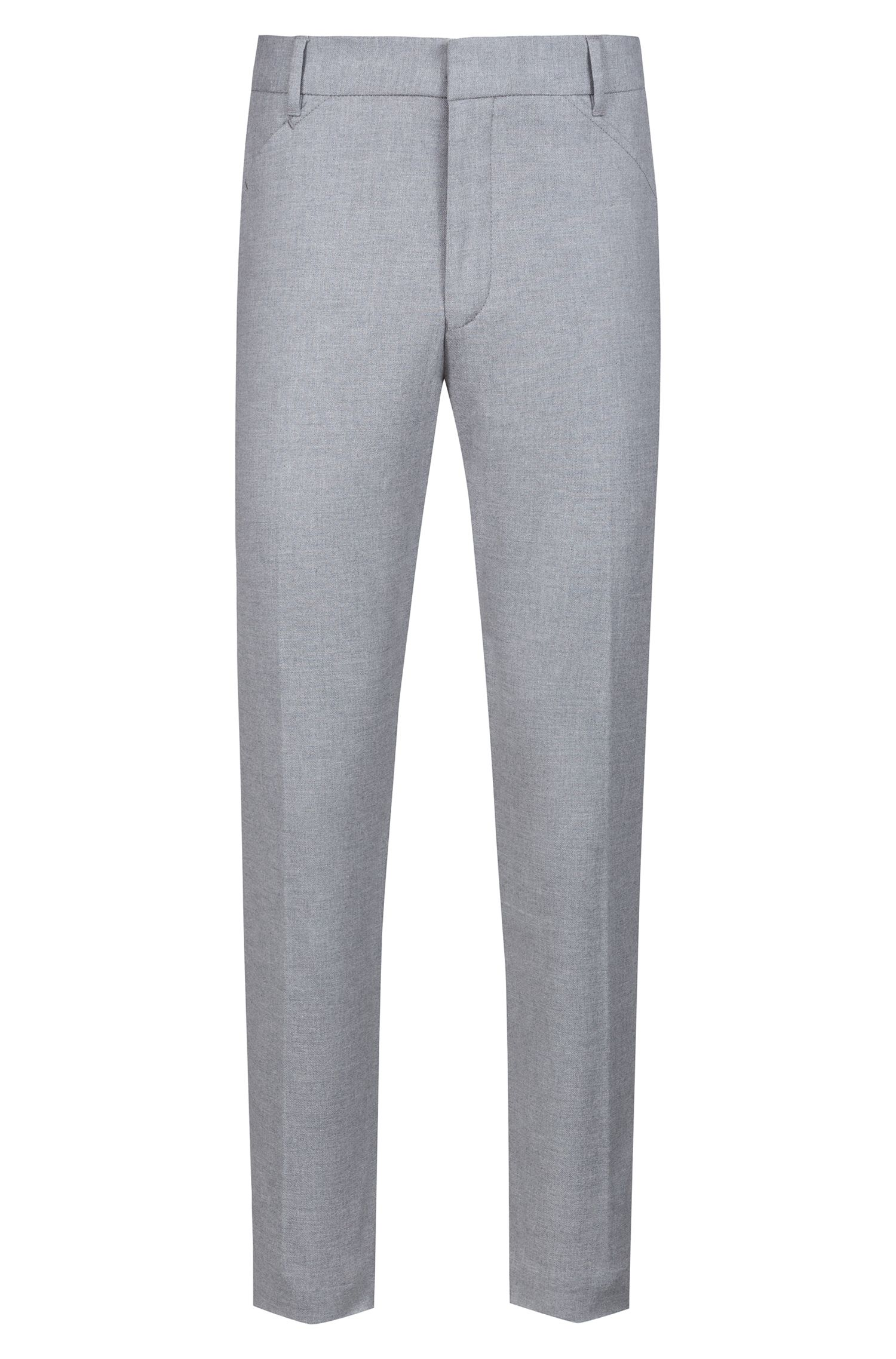 Slim-fit pants in melange stretch cotton, Open Grey