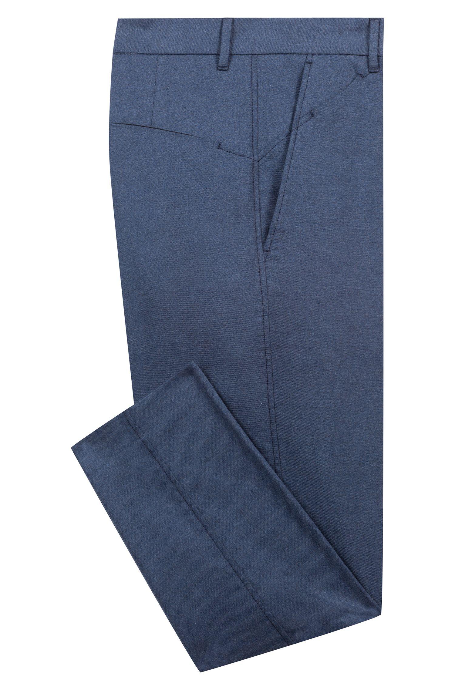 Slim-fit pants in melange stretch cotton, Dark Blue